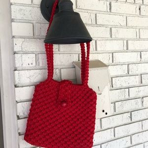 Vintage Crochet Red Shoulder Bag